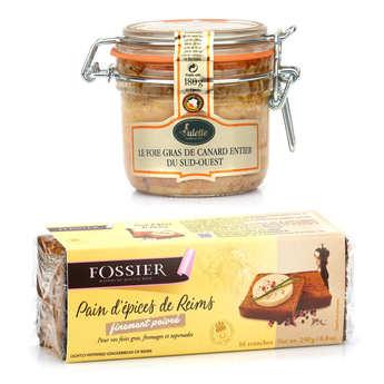 - Assortiment foie gras de canard entier et son pain d'épices