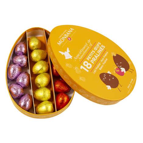 Monbana Chocolatier - Boîte de 18 œufs pralinés au chocolat au lait et noir