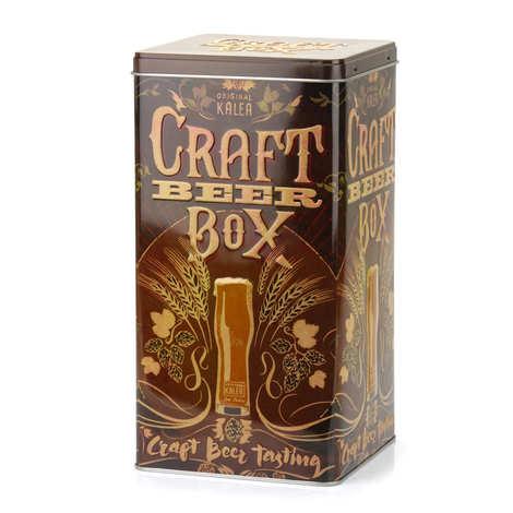 """- Boite métallique décorée 'Craft Beer"""" pour 4 bouteilles de bière"""