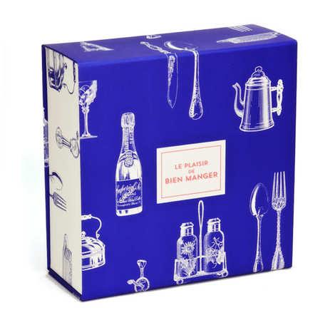 BienManger.com - Boite cadeau carrée aimantée bleue et blanche