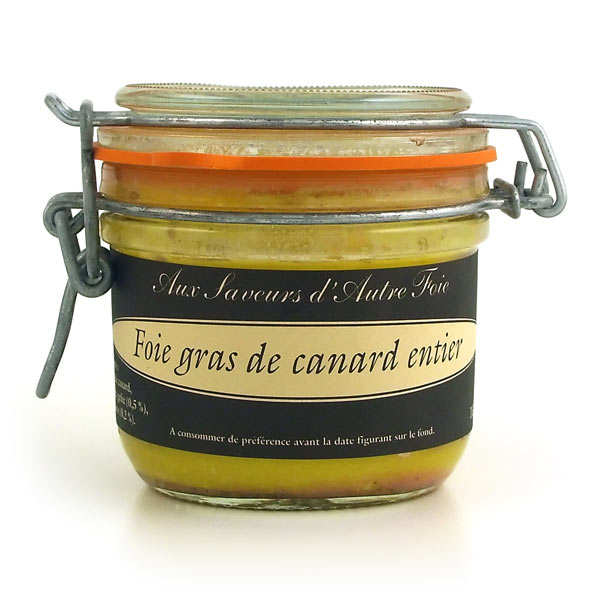 Whole duck foie gras in a jar