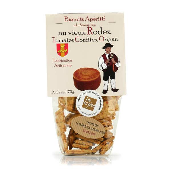 Biscuits apéritif au Rodez, tomate confite et origan