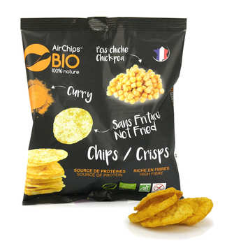 Airchips™ Bio - Organic and Vegan Chikpea and Curry Crisps without Frying