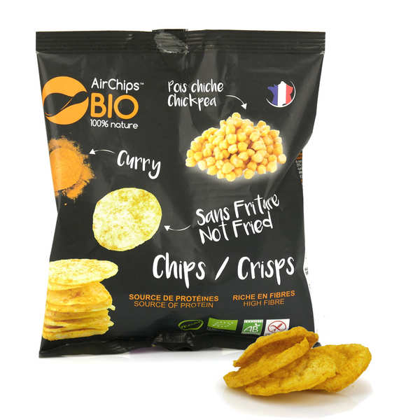 Organic and Vegan Chikpea and Curry Crisps without Frying