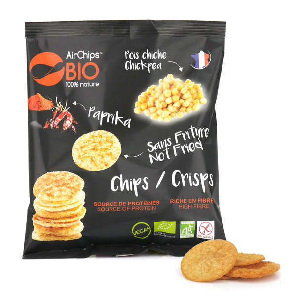 Organic and Vegan Chikpea and Paprika Crisps without Frying