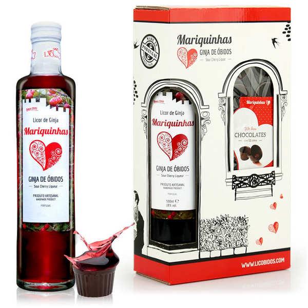 Ginja de obidos et verres en chocolat - liqueur de cerise griotte du portugal 18% - bouteille 50cl + 12 verres en chocolat