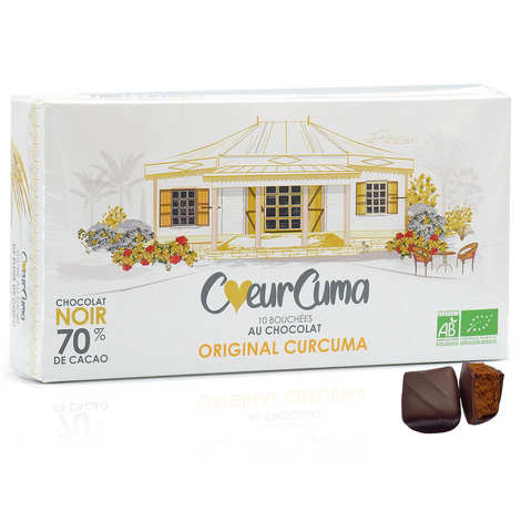 CoeurCuma bio - Bouchées au chocolat noir et curcuma bio