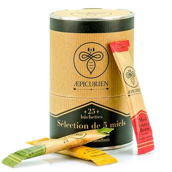 Aepicurien - Sélection de 5 miels en bûchettes