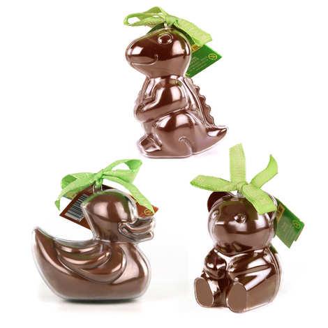 Bovetti chocolats - Assortiment de 3 moulages Bimbi chocolat au lait et leurs moules à réutiliser