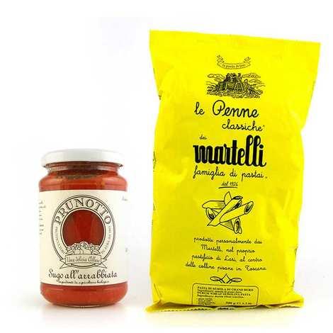 - Assortiment de pâtes italiennes et sauce Arrabbiata