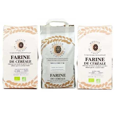 Moulin de Colagne - 3 organics flours for homemade bread assortment