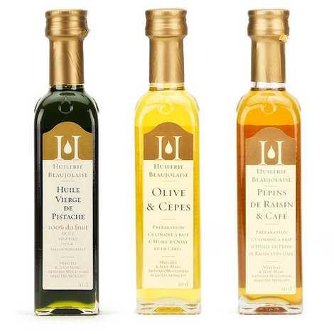 Huilerie Beaujolaise - Assortiment 3 huiles d'assaisonnement Huilerie Beaujolaise