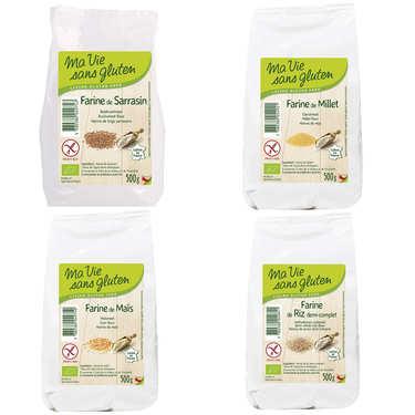 Assortiment de 4 farines sans gluten bio