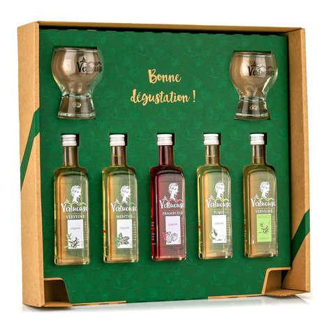 La Vertueuse - La Découverte - Coffret 5 liqueurs en mignonnettes et ses 2 verres