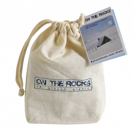 On The Rocks - 9 Aubrac Granite Stone Ice Cubes in cotton bag