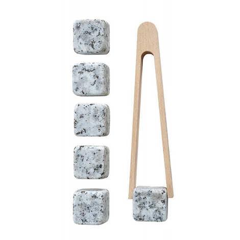 On The Rocks - Coffret cadeau Aubrac 6 glaçons granit avec pince