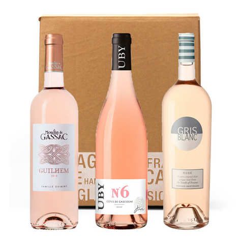 - 3 pink wines from South-West of France box