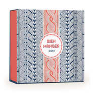 Trendy gift box with coral and blue wax texture - 25 x 11 x 25cm