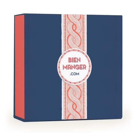 BienManger.com - Boite cadeau carrée aimantée Wax corail et bleue