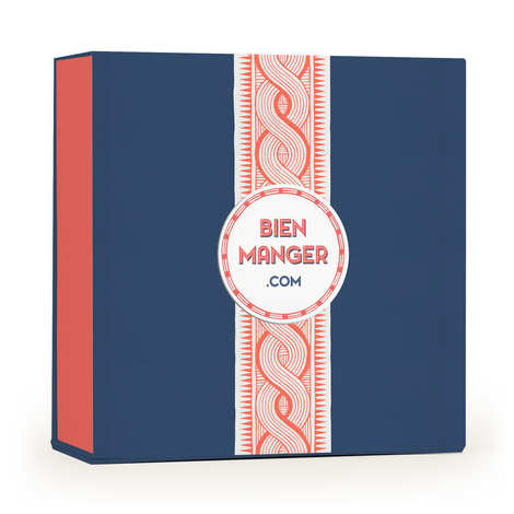 BienManger.com - Trendy gift box with coral and blue wax texture - 25 x 11 x 25cm