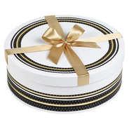 Boîte à chapeau ronde blanche, noire et or