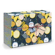 Boite cadeau en carton décor citrons