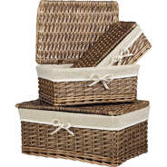Wicker basket with cover and beige tissu
