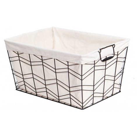 - Big black basket dressed with unbleash fabric