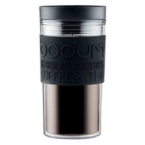 Bodum - Mug de voyage isotherme en plastique noir avec couvercle à vis 35cl  - Travel Mug