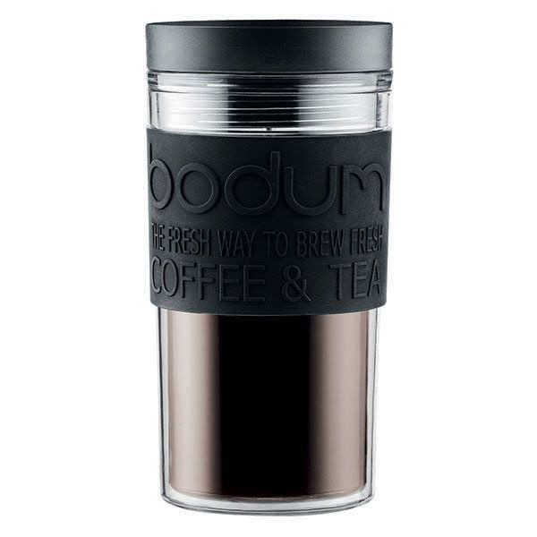 Mug de voyage isotherme en plastique noir avec couvercle à vis 35cl  - Travel Mug