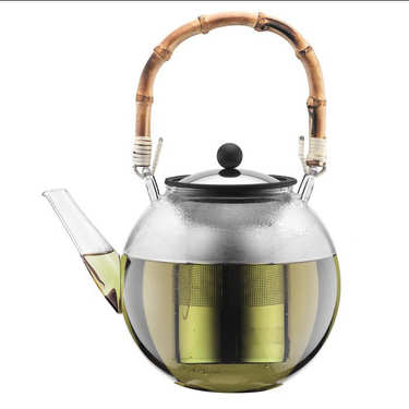 Piston teapot with natural bamboo handle - Assam