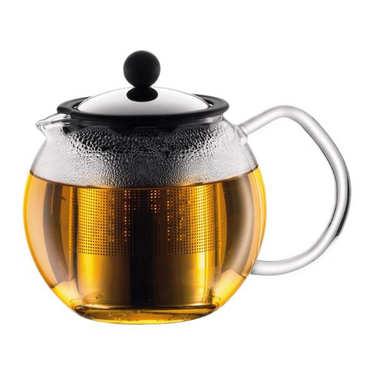 Théière à piston avec filtre en inox brillant 1L - Assam