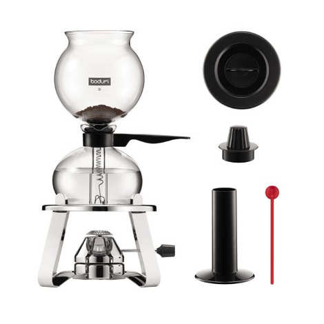 Bodum - Vacuum coffee maker set with rechargeable stainless steel gaze 1L - Pebo