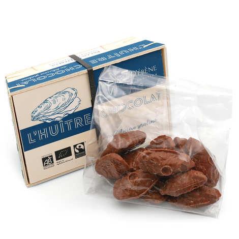 Palais d'Ebène - Bourriche d'huîtres en chocolat bio fourrées au praliné