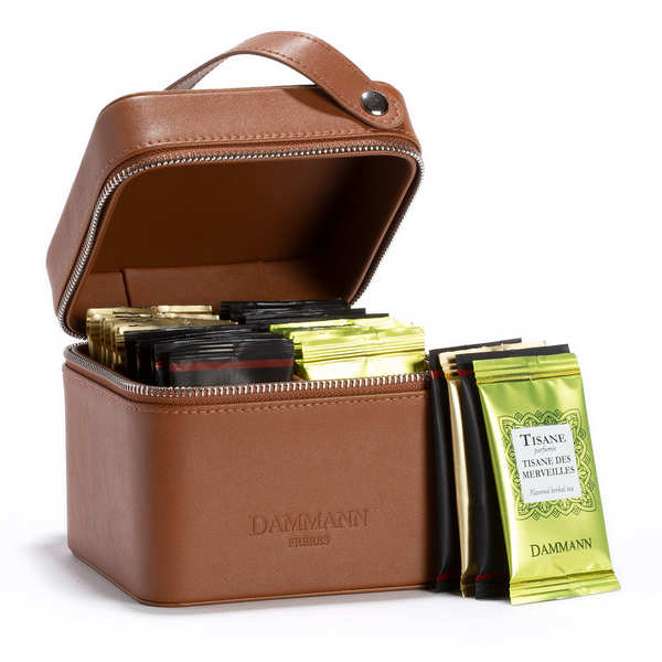 Coffret valisette Escape en simili cuir fauve - 32 sachets