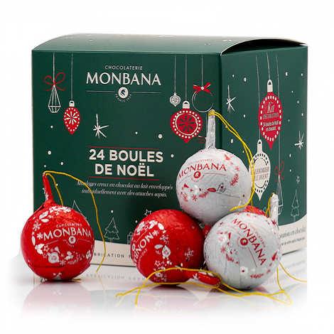 Monbana Chocolatier - Coffret 24 boules de Noël en chocolat au lait à suspendre