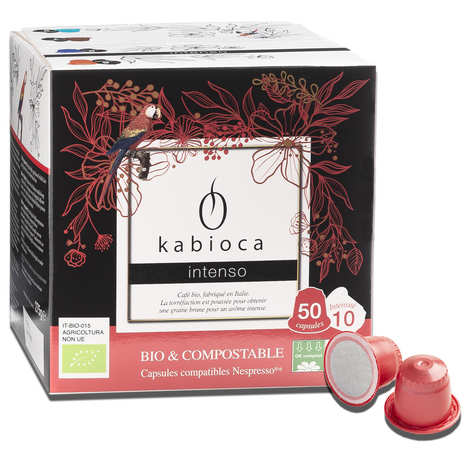 Kabioca - Café intenso bio et compostable, 50 capsules compatibles Nespresso®
