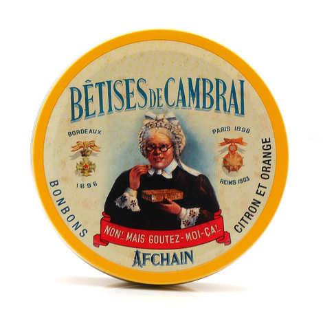 Confiserie Afchain - Bêtises de Cambrai au citron et à l'orange dans leur boîte ronde