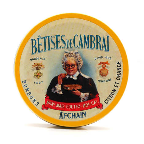 Confiserie Afchain - Cambrai Betises with lemon and orange in their round box