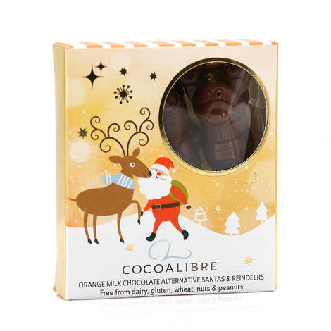CocoaLibre - Christmas reindeer ans Santas with orange milk chocolate - Gluten and Lactose Free