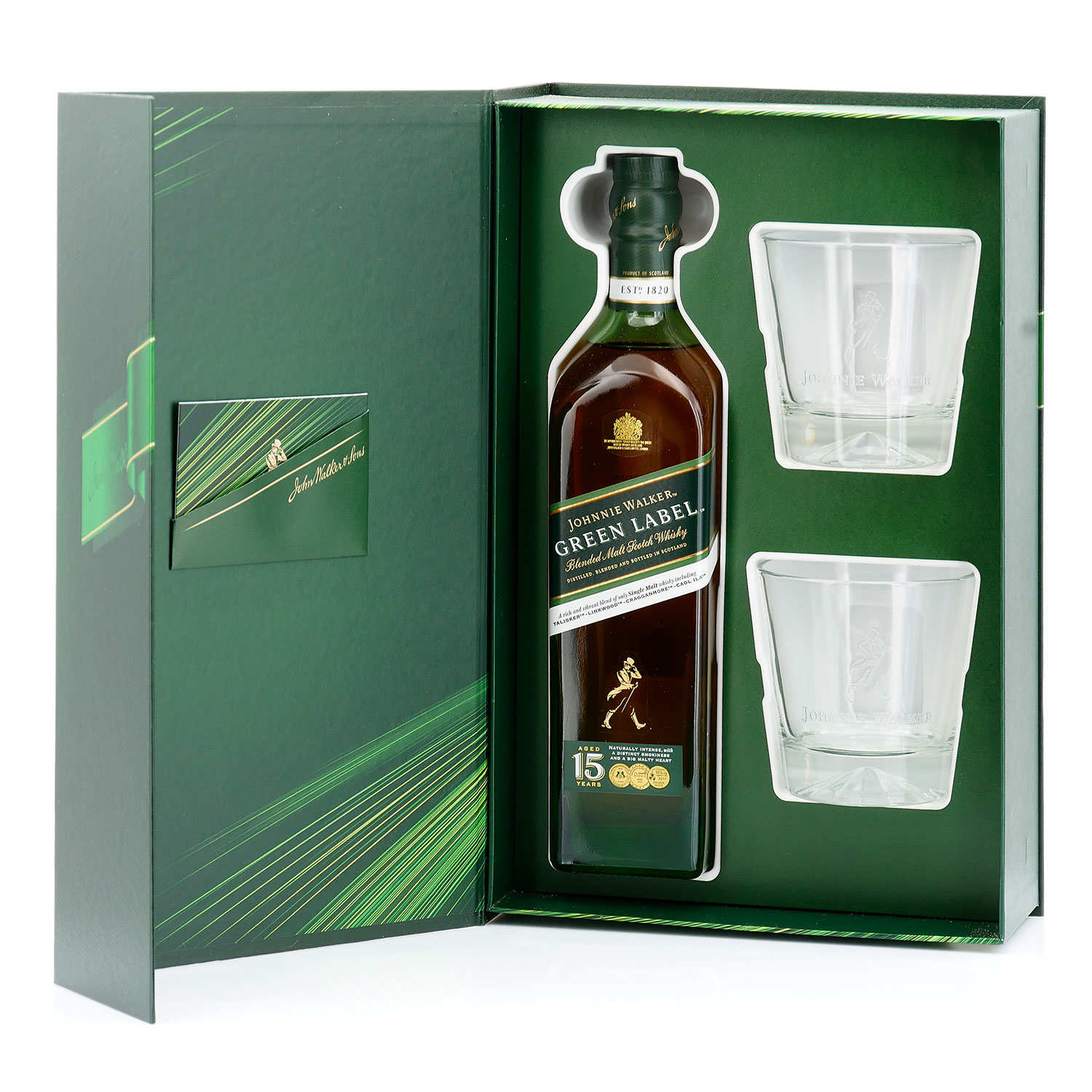 Johnnie Walker Green Label 15 YO Whisky Gift Box With 2
