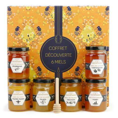 Maison Sauveterre - 6 Honey Jars Gift Set and wood dipper