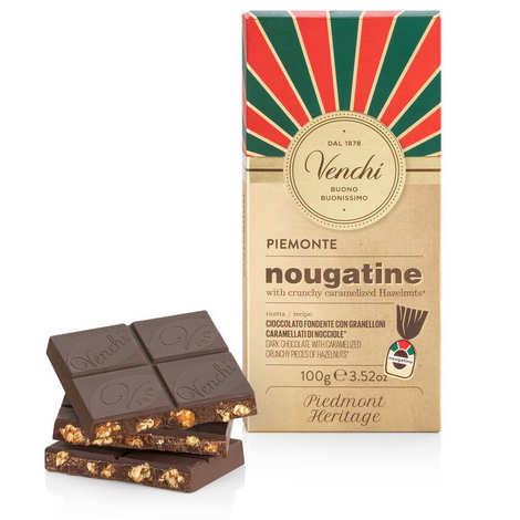 Venchi - Tablette nougatine - chocolat noir avec noisettes caramélisées