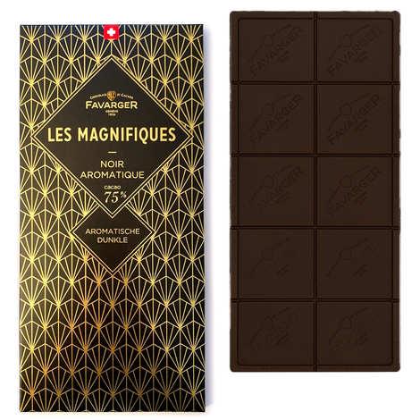 Favarger - Tablette de chocolat suisse noir 75% - Les Magnifiques