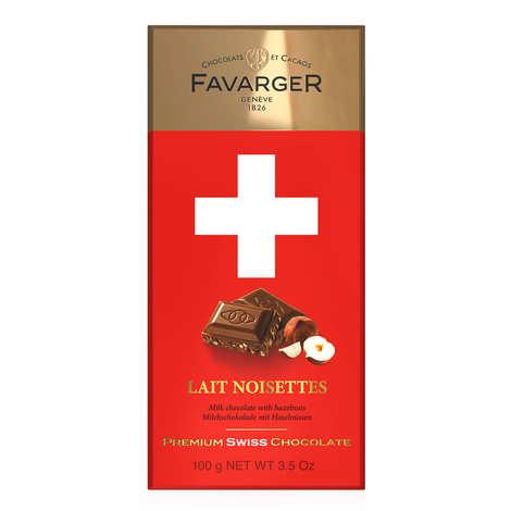 Favarger - Tablette de chocolat suisse au lait et noisettes caramélisées