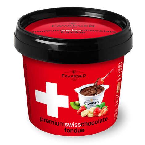 Favarger - Kit fondue au chocolat suisse avec mini caquelon en porcelaine
