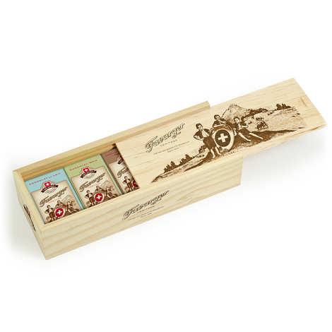 Favarger - Plumier en bois 16 mini tablettes de chocolat suisse assorties