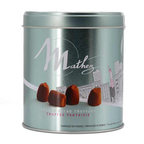 "Chocolat Mathez - Truffes fantaisie chocolat nature en boite métal ""Travel"""