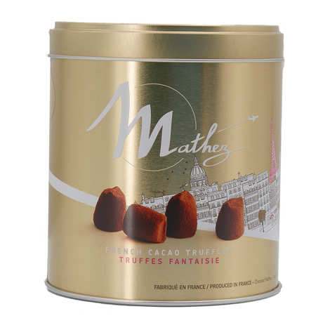 """Chocolat Mathez - Truffes fantaisie au marc de Champagne en boite métal """"Travel"""""""
