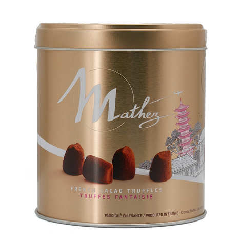 "Chocolat Mathez - Truffes fantaisie macaron framboise en boite métal ""Travel"""